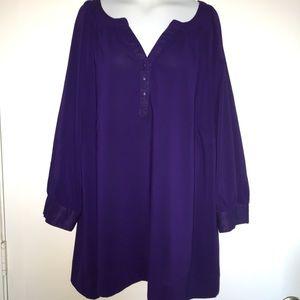 Avenue Solid Purple 3/4 Sleeve Top Plus Size 22/24